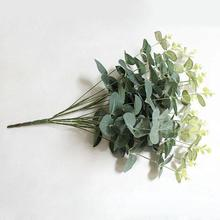1 Bouquet Artificial Plastic Green Leaves Eucalyptus Plant Home Office Lifelike, Beautiful Non-fade Decor