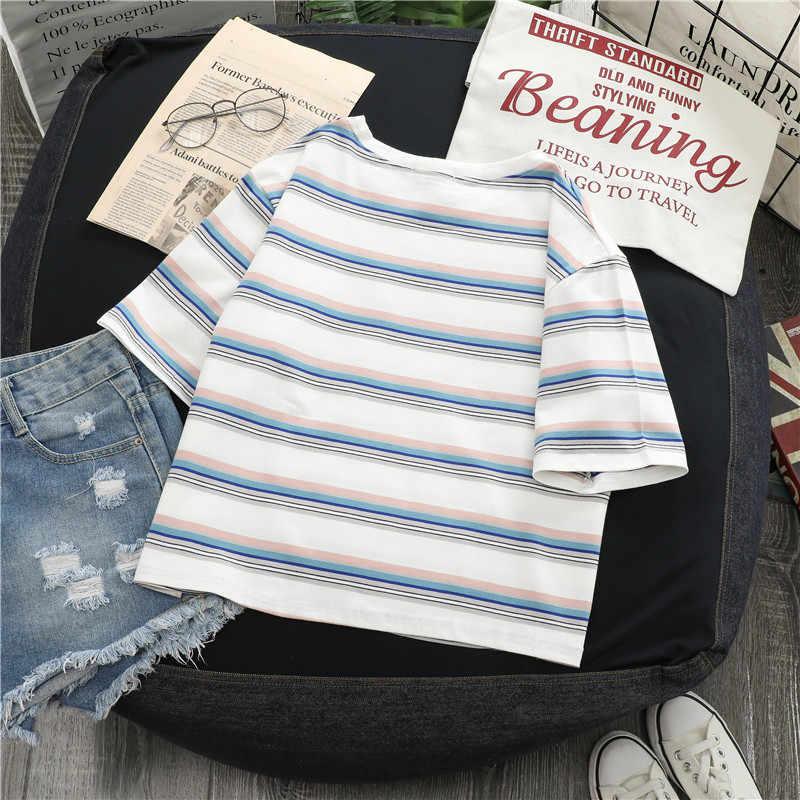 여름 ropa mujer 하라주쿠 kpop Kawaii tshirt haut femme 레인보우 스트라이프 빈티지 camiseta 여성 t-셔츠 탑스 미적 vetement