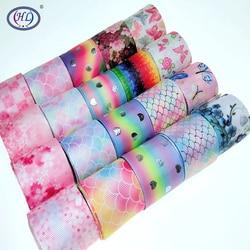 HL rubans imprimés multicolores de 38MM, accessoires de couture, ruban emballage cadeau pour décoration de mariage de noël