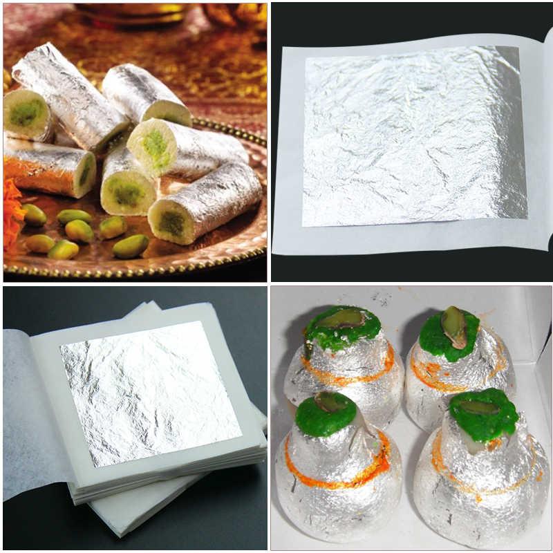100% Silver Leaf เอดดัลไวส์อาหารตกแต่ง Glitter กระดาษ, สำหรับหญิงเครื่องสำอางค์เค้กช็อกโกแลต ICE-Cream Candy ตกแต่ง 10 ชิ้น 6x6 ซม.