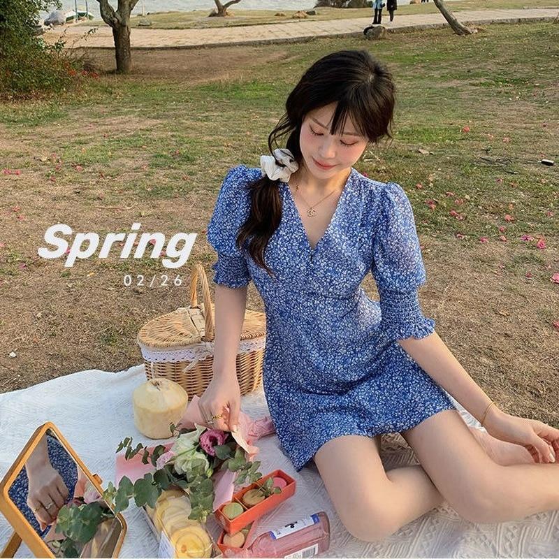 2021 Summer Sweet Elegant Dress Women V-Neck Short Sleeve Kawaii Mini Dress Chiffon Beach One Piece Dress Korean Floral Design Women Women's Clothings Women's Dresses