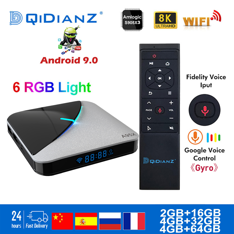 Smart TV BOX A95XF3 AIR Android 9.0 Amlogic S905X3 8k Netflix Plex Media Server Play Store Free App Set Top BOX PK HK1MAX H96