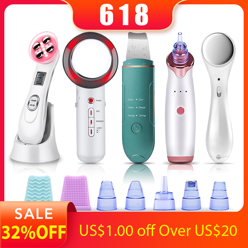 Skin Scrubber Face Massager EMS Mesotherapy RF Radio Frequency Facial Beauty Blackhead Remover Ultrasoic Infrared