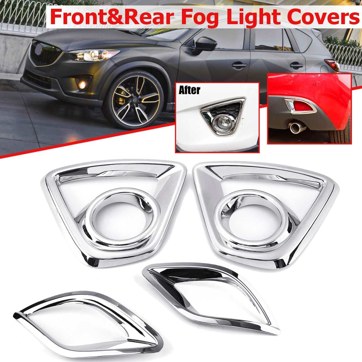 Bumper <font><b>Fog</b></font> <font><b>light</b></font> Chrome Garnish For <font><b>Mazda</b></font> Cx-5 <font><b>Cx5</b></font> 2013 2014 2015 2016 Car Rear Tail <font><b>Lights</b></font> Lamp Shade Frame Trim <font><b>Cover</b></font> Styling image
