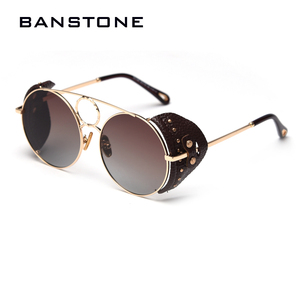Image 2 - BANSTONE Women Vintage Metal Circle SteamPunk Polarized Sunglasses Leather Side Shield Brand Men Sun Glasses Oculos De Sol UV400