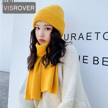 VISROVER, 8 цветов, один комплект, унисекс, одноцветная акриловая зимняя шапка и шарф для женщин, один комплект, акриловый, унисекс, теплая шапка, ...