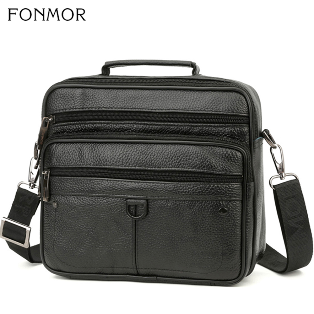 Fonmor Fashion Briefcase Bags Tote Laptop Messenger Business Cowhide Genuine Leather Crossbody-Bags Men's Shoulder Zipper Bags