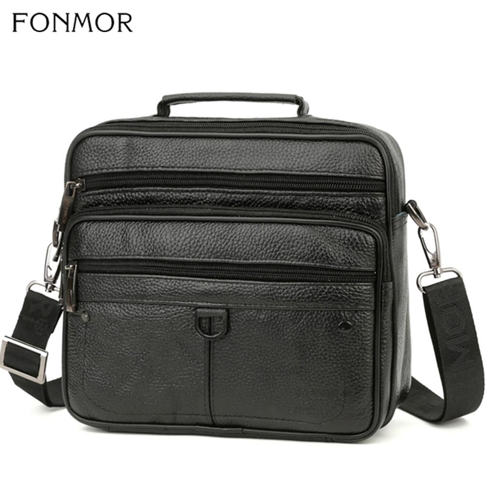 Fonmor Fashion Briefcase Bags Tote Laptop Messenger Business Cowhide Genuine Leather Crossbody-Bags Men's Shoulder Zipper Bags