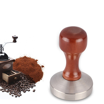 Waterproof Coffee Tamper 51/53/57/57.5/58mm Brown+Silver Whorl Flat Base Press For Kitchen Accessories Coffee Machine Accessory|Coffee Tampers| |  -