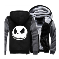 Skull Jack Skellington Funny Halloween Town Pumpkin King Streetwear Hoodies Sweatshirt Men Winter Fleece Warm Thick Jackets Coat