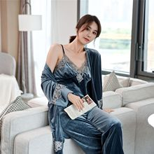 Kimono Bathrobe Nightwear Pajamas Sleepwear Gown Lace-Trim Velvet Sexy Women New Autumn