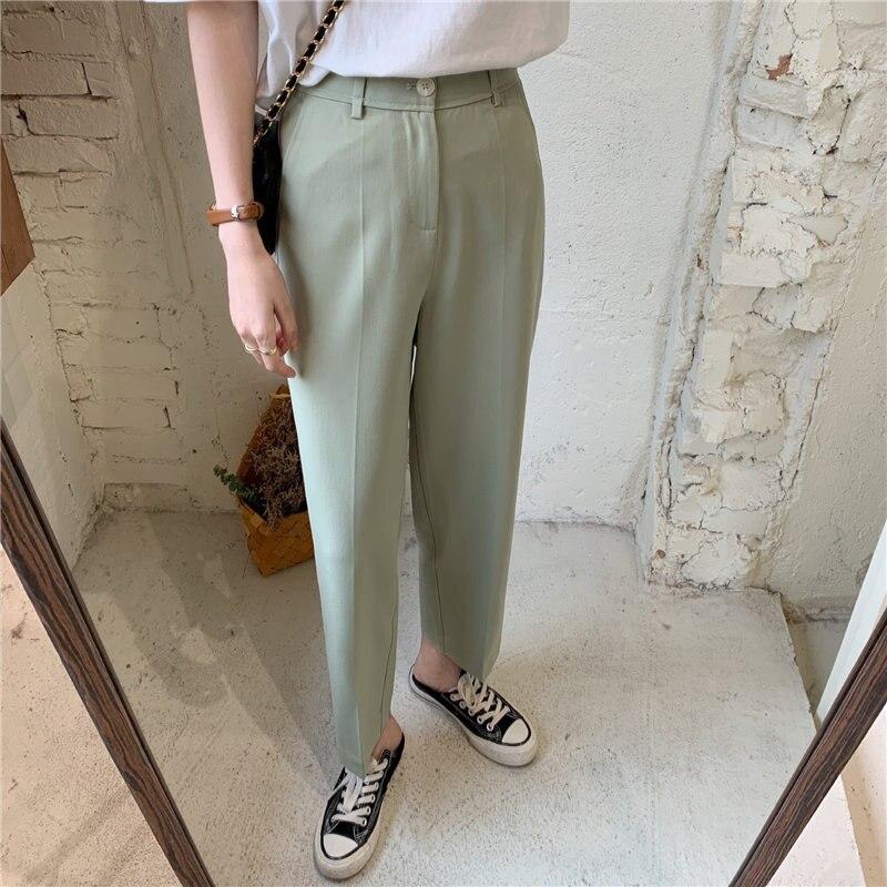 Hzirip primavera chique cintura alta magro ol em linha reta mulher 2020 novo sólido quente slender cintura alta solta casual magro tornozelo-comprimento calças