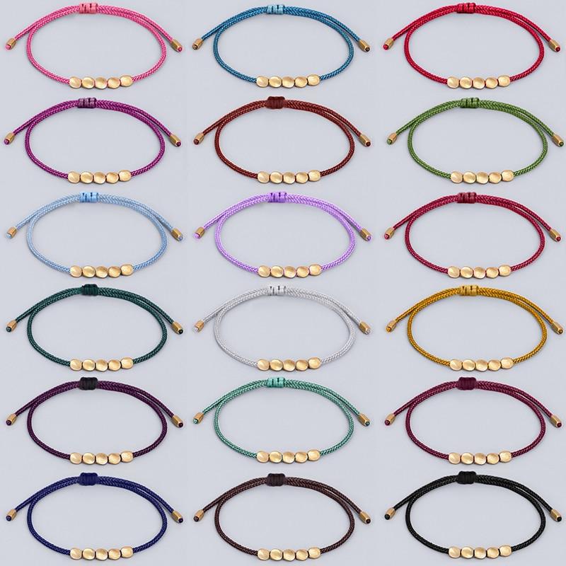 Буддизм ручной работы тибетские медные бусы счастливая веревка браслет и браслеты для женщин и мужчин вощеная нить наручные ювелирные изде...