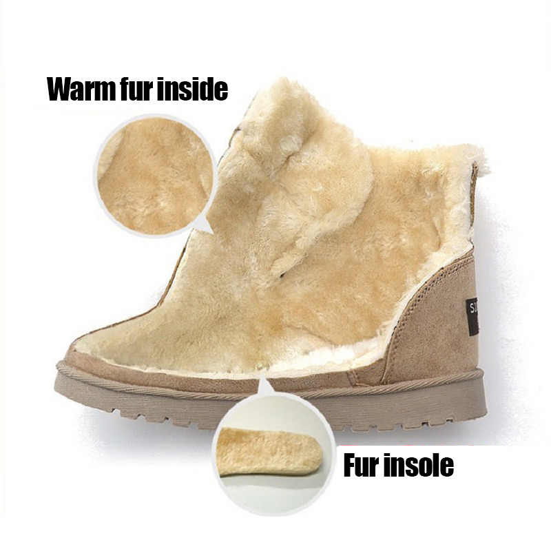 LAKESHI kar botları kalın sıcak kadın botları 2019 yeni kış kürk deri süet ayak bileği çizmeler kadın ayakkabıları artı boyutu 35-43