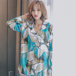 Image 4 - JULYS SONG  Woman Fashion Printing Pajamas Cotton Womens Trousers Pajamas Set Casual Large Size Soft Floral Sleepwear Suit