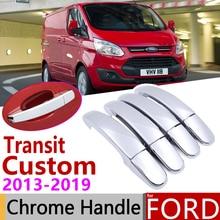 Для Ford Transit Custom 2013~ хромированные дверные ручки крышки наклейки на автомобиль отделка набор из 4 дверей