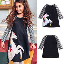 Toddler Baby Girl Kid Spring Clothes Horse Stripe Print Princess Party Dress Long Sleeve Stripe O-Neck Baby Dress Hot Sale(China)