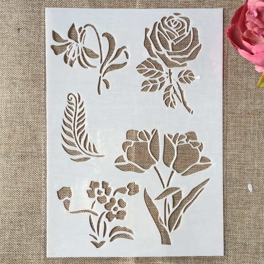 29cm A4 Rose Flower Illustration DIY Layering Stencils Wall Painting Scrapbook Coloring Embossing Album Decorative Template
