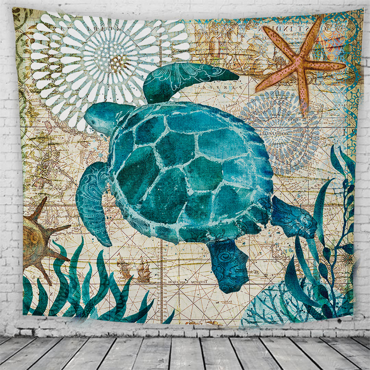Marine biological printing tapestry bedroom decoration tapestry photo background beach blanket soft yoga mat outdoor picnic mat image