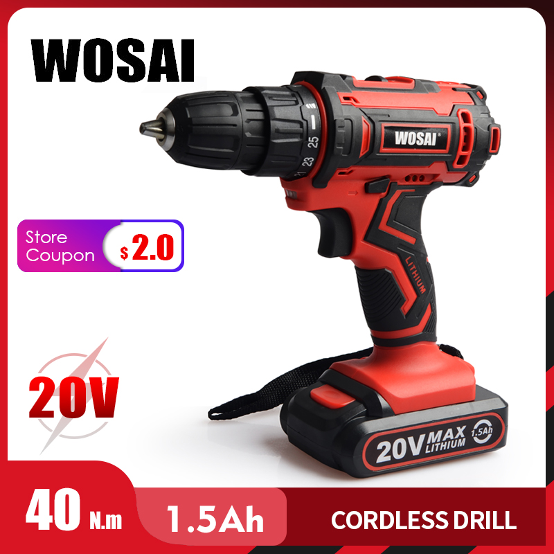 WOSAI New 20V Cordless Drill Electric Screwdriver Mini Wireless Power Driver DC Lithium Ion Battery 3/8 Inch 2 Speed 4.8