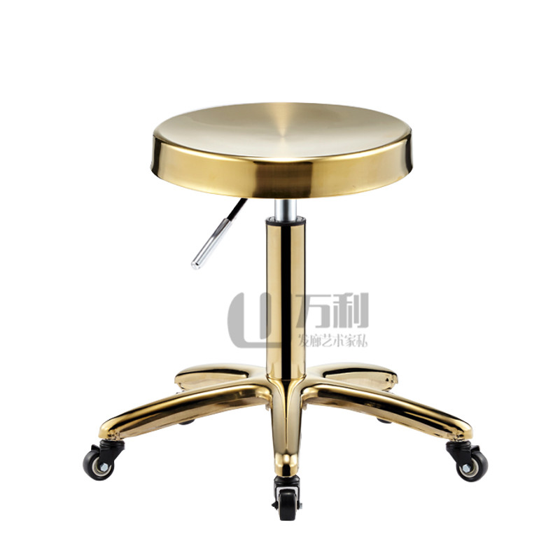 Stainless Steel Beauty Stool Barber Shop Work Bench Pulley Hair Stylist Chair Hair Salon Dedicated