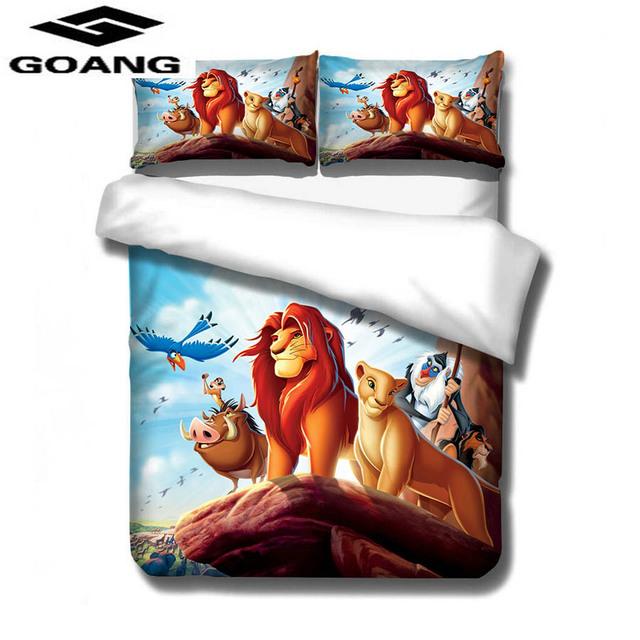 GOANG 3d Digital printing Lion King kids bedding luxury Home textiles cartoon bedding set bed sheet duvet cover and pillowcase