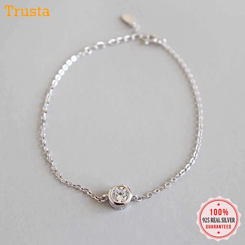 Trustdavis 100% 925 Solid Real Sterling Silver Fashion Women's Jewelry Round CZ Bracelet 15cm For Women Girl Lady Gift DA122