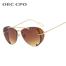 OEC CPO metal pilot steampunk sunglasses men with side shields