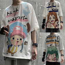 Fashion cartoon anime one piece t shirt luffy zoro nami chopper