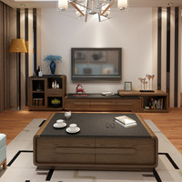 Nordic fire stone tea cabinet combination set simple modern retractable marble TV cabinet living room furniture