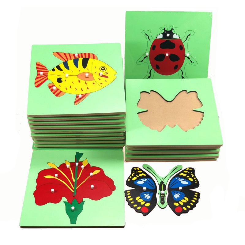 Baby Toys Montessori Materials Botany Zoology Puzzles Plastic Pegged Grab Wood Board Panel Early Educational Preschool Training