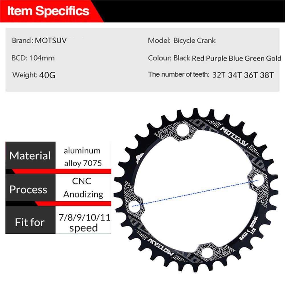 MOTSUV รอบจักรยานห่วงโซ่รูปไข่ล้อ Crank 32-38T 104BCD จักรยานและ Chainwheel แคบกว้าง Crankset Chainwheel จักรยานอะไหล่