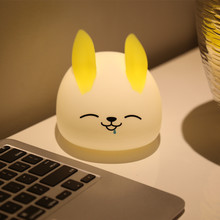 Touch Sensor Colorful LED Rabbit Night Light USB Rechargeable Cartoon Silicone Bunny Animal Bedside Lamp for Children Baby Gift