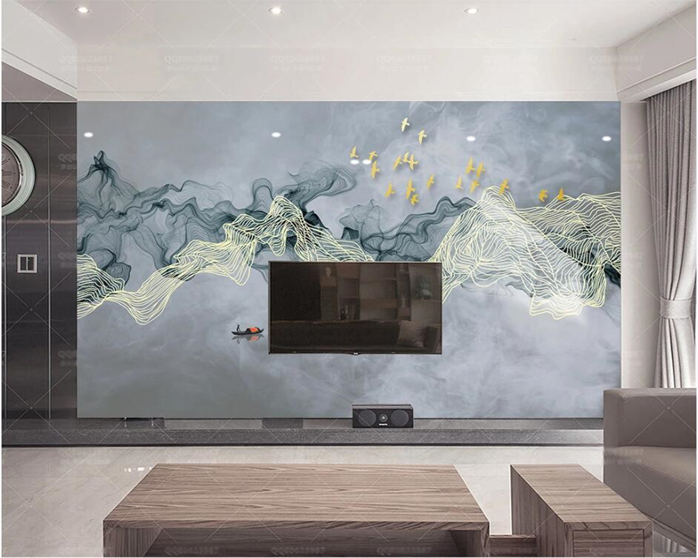 Beibehang Customized New Chinese Style 3d Wallpaper Artistic Landscape Golden Lines Flying Birds TV Background Wallpaper