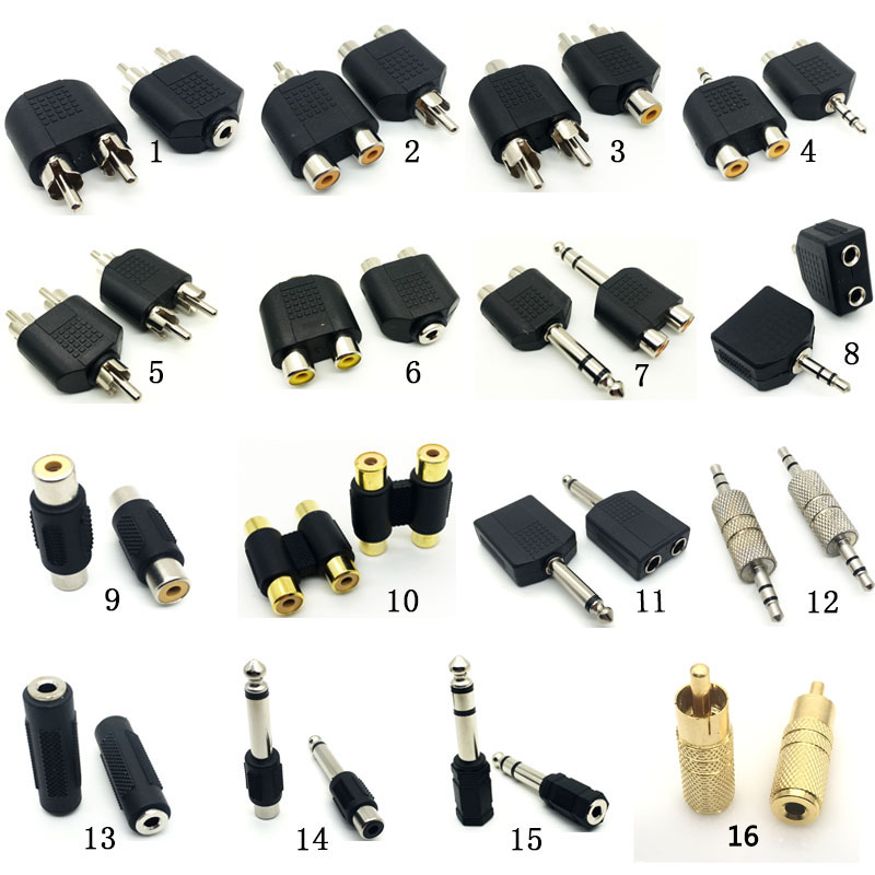 1pcs 6.5mm Male To 3.5mm Audio Stereo Jack Female To 2 RCA Male Audio Jack Connector Adapter Converter For Speaker