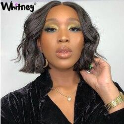 Whitney vague de corps court Bob dentelle fermeture perruque 100% perruques de cheveux humains cheveux brésiliens Remy cheveux 180% densité 16 pouces pour les femmes noires