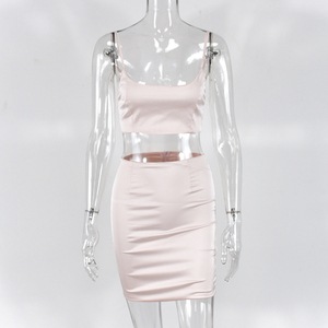 Image 5 - NewAsia גן כפול שכבות סאטן סטים תואמים מועדון מסיבת שתי חתיכה להגדיר נשים אדום שרוולים יבול למעלה חצאית שתי חתיכה תלבושות