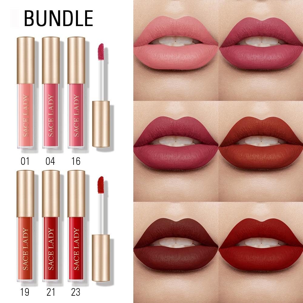 SACE DAME Lippen Make-Up Mini Matt flüssigen Lippenstift Set Wasserdichte Lange Anhaltende Feuchtigkeit Kosmetische Lip Gloss Rot Lip stick DROPSHIP