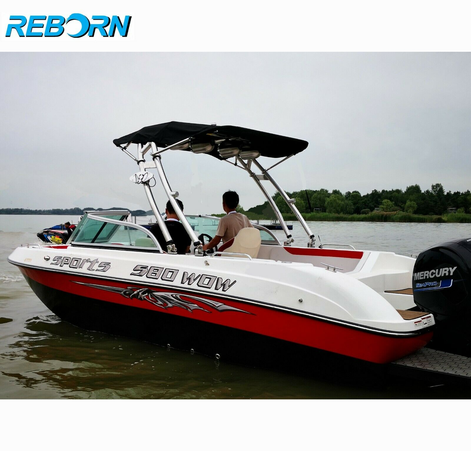 Reborn Launch Boat Wakeboard Tower Polished Plus Pro3 Foldable Tower Bimini Top Black Canopy PKG