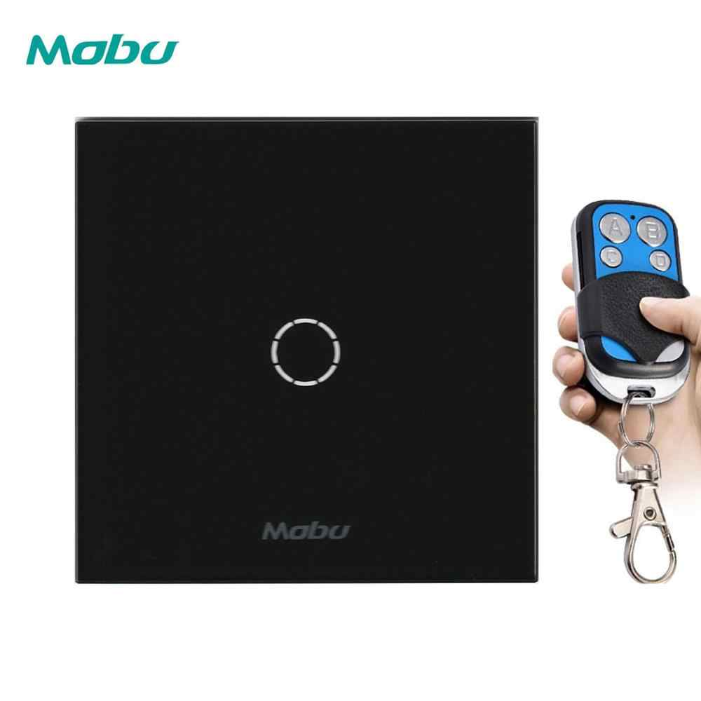 Mobu 1Gang 1 Arah Remote Control Switch eu/UK Standard Wall Light Switch untuk Remote Touch Switch