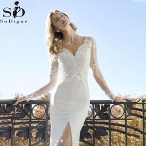 Image 3 - Sexy High Slits Mermaid Wedding Dresses V neck Long Sleeve Lace Appliqued Bridal Gowns Dubai Boho Wedding Gown vestido de noiva