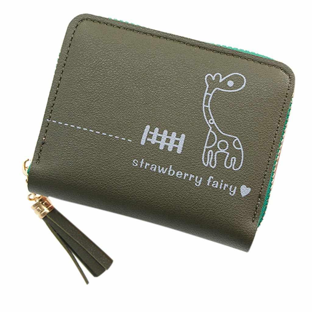 Desenhos animados girafa padrão das mulheres carteira ao ar livre pure color zíper sacos moda tendência pequeno couro do plutônio quadrado cartão carteiras # zc