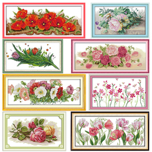 Flowers Stamped Cross Stitch Kits Joy Sunday Colorful Rose Printed 11CT 14CT Counted Cross Stitch Kit Embroidery Needlework Sets