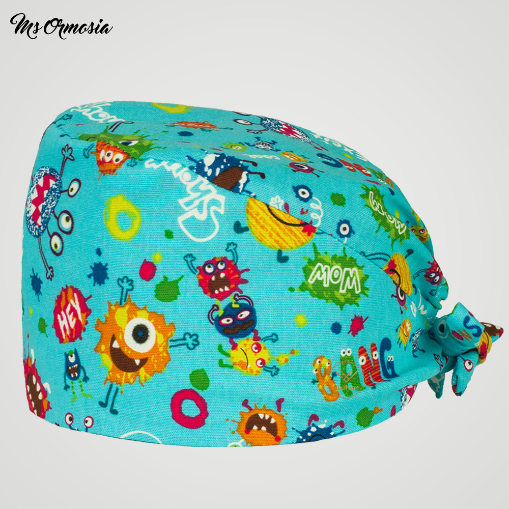 Men And Women Wholesale Cotton Scrub Cap Hospital Medical Hat Printing Tie Elastic Surgery Cap Pet Doctor Hat Surgical Caps New