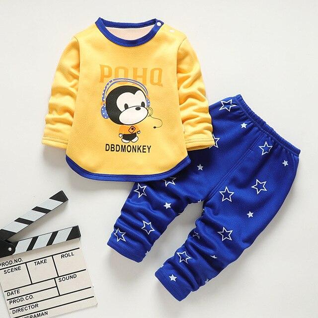 Baby Kids Pajamas Sets Boys Sleepwear Suit Autumn Winter Warm Girls Long Sleeve Pijamas Tops+Pants 2pcs Children Clothing 2