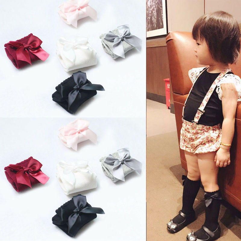 Infant Baby Girls Knee High Stockings Cotton Bow Knee Tight Ribbon Stockings Set Cute Bow Children Stockings