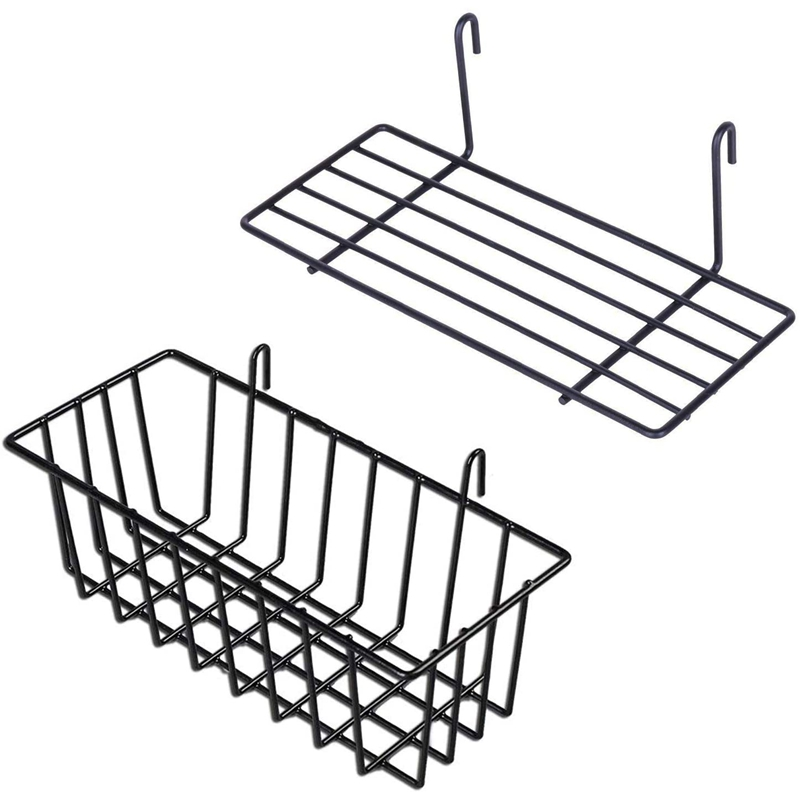 2 Pieces Hanging Basket Straight Shelf Flower Pot Display Holder for Wire Wall Grid Panel, Bread Basket Iron Rack