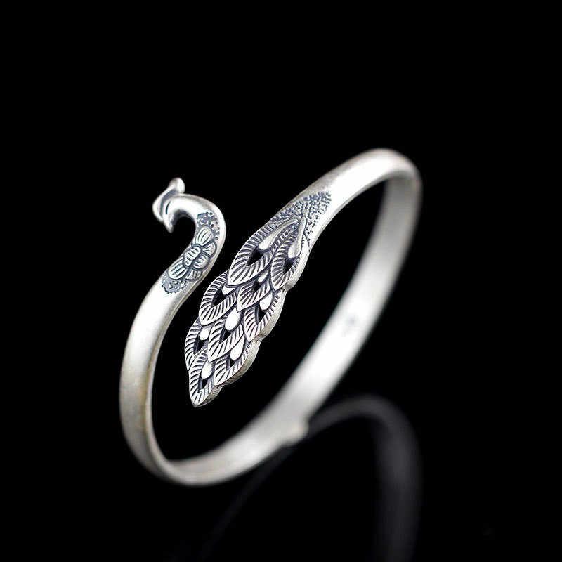 น่ารักสุภาพสตรีนกยูงสัตว์แหวนโลหะ Vintage 925 Sterling Silver Love งานแต่งงานแหวนคลาสสิกปรับแหวน