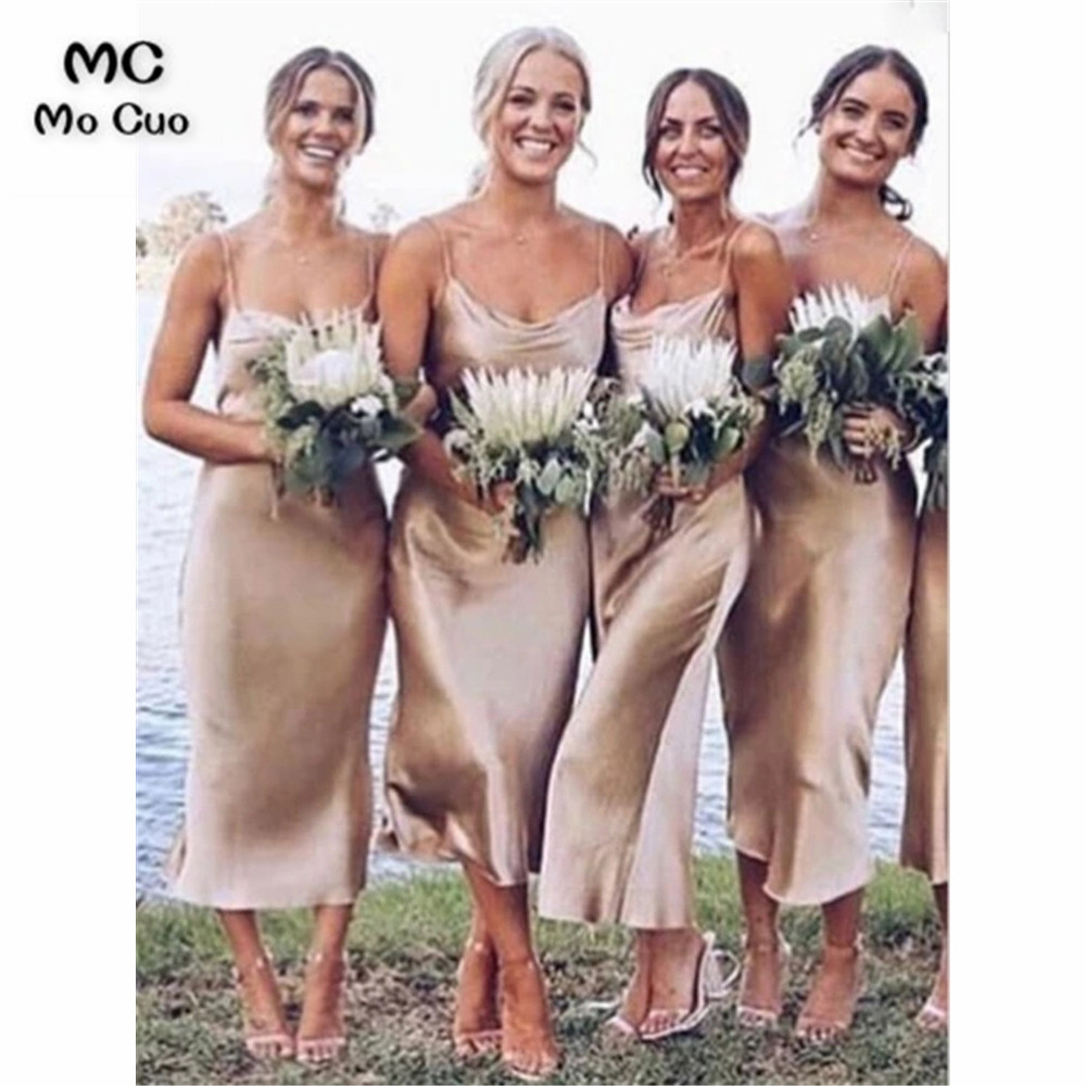 Sexy Champagne Bridesmaid Dresses Tea Length V-Neck Spaghetti Straps Wedding Party Dress Pleat Prom Bridesmaid Dresses For Women