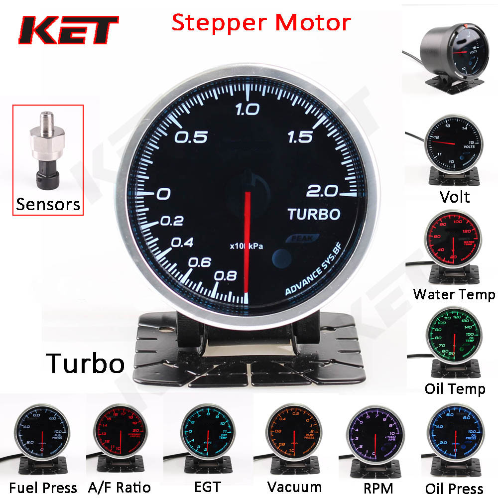 2.5inch 60mm Adjustable 7 Color 12V Oil Pressure//Press Gauge Car Meter Universal